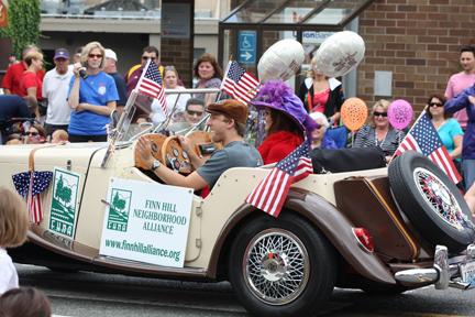Replica MG Roadster represents FHNA in parade.