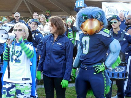 """There seems to be some excitement in the air. """"Go Hawks!"""" everyone keeps yelling. That's My Momma, Terri Fletcher, leading a spirited rally at Marina Park."""